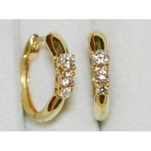 K18 YG ダイヤモンド フープ ピアス 直径17.63mm 3.86g 0.40ct|bijou-shop