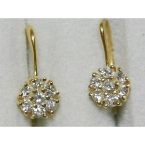 K18 YG フラワー ダイヤ ピアス 1.40g 0.50ct フック タイプ 花|bijou-shop