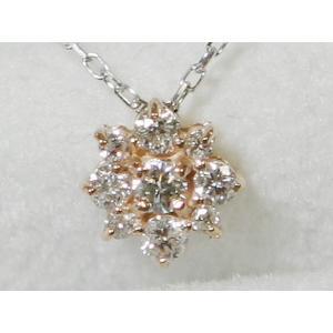 K18YG/ WG フラワー ダイヤ ネックレス 1.37g 0.20ct|bijou-shop
