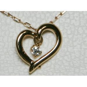 超美品 揺れる 4℃ ヨンドシー K18 PG オープンハート ダイヤ ネックレス|bijou-shop