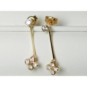 超美品 花 K18 四葉のクローバー ダイヤ ブラ ピアス 0.30ct|bijou-shop