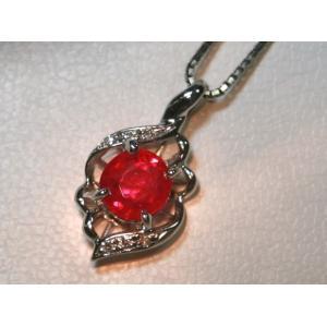 プラチナ Pt 900 ルビー ダイヤ ネックレス 1.015ct  5.03g ベネチアン ネック付き|bijou-shop