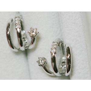 K18 WG トリプル フープ ダイヤ ピアス 3.26g 0.16ct|bijou-shop