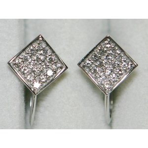 超美品 K18 WG ダイヤ パヴェ スクエア イヤリング 1.92g 0.32ct|bijou-shop