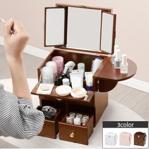 コスパで選ぶならコレ 三面鏡付き メイクボックス コスメボックス / 木製 バニティ ピンク ホワイト ブラウン 完成品 ruu 1|bikagu