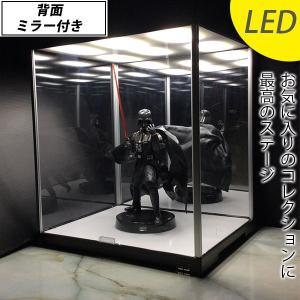 LED照明・背面ミラー付き フィギュアケース (送料無料) ...