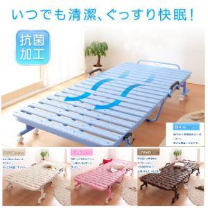 プラスチック製 折りたたみベッド シングル / キャスター付き ハイタイプ すのこベッド 折り畳み 抗菌 軽い 軽量 ruo 6|bikagu