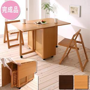 椅子まで収納 折りたたみ ダイニングテーブル 3点セット / ダイニングセット 折りたたみ 椅子 収納 ruq|bikagu