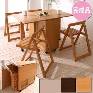 椅子まで収納 究極の折りたたみ ダイニング 5点セット / 折りたたみ 収納 ダイニングテーブルセット ruo 2|bikagu