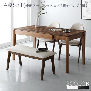 最大伸長180cm 伸縮式ダイニング 4点セット (テーブル+チェア2脚+ベンチ1脚) / 4人掛けダイニングテーブルセット おしゃれ  4人用 北欧 ruk|bikagu