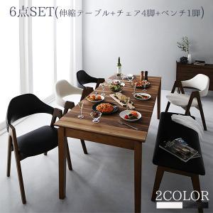 最大伸ばして6人掛け♪ 伸縮式ダイニング 6点セット (テーブル+チェア4脚+ベンチ1脚) (送料無料)  6人掛けダイニングテーブルセット 激安 安い おしゃれ|bikagu