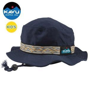 カブー KAVU キッズ ストラップバケットハット Pブルー 日本製| 帽子 キャンバスコットン  アウトドア トレッキング 日よけ|bike-briller