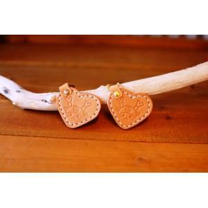 本革 ふっかちゃんグッズ バッグチャーム ハート型 手縫い 本革 ヌメ革日本製 深谷市キャラクター 自然素材 ゆるキャラグッズ プレゼント お土産に bike-briller