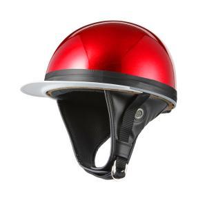ヘルメット コルク半 レッドラメ 新品 白ツバ 原付・スクーター SG規格適合 PSCマーク取得 バイクパーツセンター|bike-parts-center