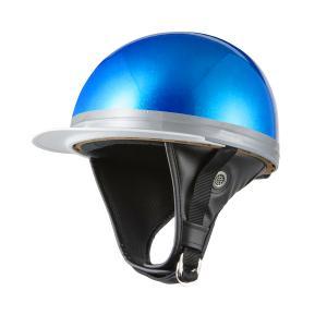 ヘルメット コルク半 ブルーラメ 新品 白ツバ 原付・スクーター SG規格適合 PSCマーク取得 バイクパーツセンター|bike-parts-center