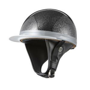 ヘルメット コルク半キャップ 三つボタン ブラックラメ 半ヘル 57cm〜60cm未満 半帽 バイクパーツセンター|bike-parts-center