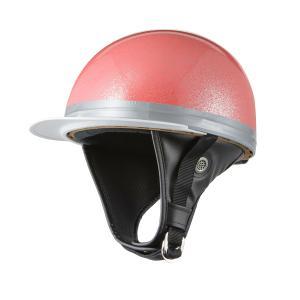 ヘルメット コルク半キャップ 三つボタン ピンクラメ 新品 半ヘル 57cm〜60cm未満 半帽 バイクパーツセンター|bike-parts-center