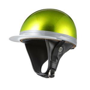 ヘルメット コルク半キャップ 三つボタン グリーンラメ 新品 半ヘル 57cm〜60cm未満 半帽 バイクパーツセンター|bike-parts-center