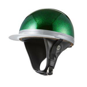 ヘルメット コルク半キャップ 三つボタン ブラックグリーンラメ 新品 半ヘル 57cm〜60cm未満 半帽 バイクパーツセンター|bike-parts-center