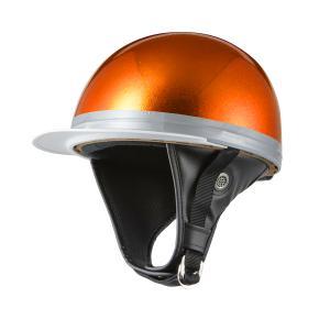 ヘルメット コルク半キャップ 三つボタン オレンジラメ 新品 半ヘル 57cm〜60cm未満 半帽 バイクパーツセンター|bike-parts-center