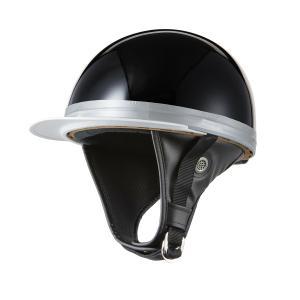 ヘルメット コルク半キャップ 三つボタン ソリッドブラック 新品 半ヘル 57cm〜60cm未満 半帽 バイクパーツセンター|bike-parts-center