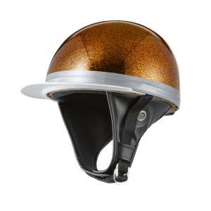 ヘルメット コルク半キャップ 三つボタン ゴールドラメ 新品 半ヘル 57cm〜60cm未満 半帽 バイクパーツセンター|bike-parts-center