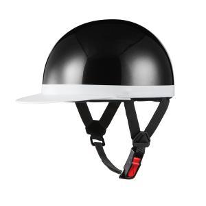 ヘルメット 半キャップ 白ツバ ブラック 新品 57cm〜59cm未満 半ヘル SG規格・PSCマーク取得 バイクパーツセンター|bike-parts-center