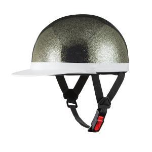 ヘルメット 半キャップ 白ツバ ブラックラメ 新品 57cm〜59cm未満 半ヘル SG規格・PSCマーク取得 バイクパーツセンター|bike-parts-center