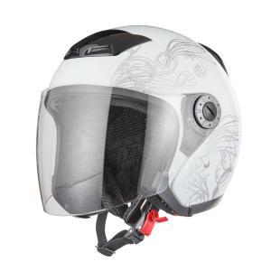 ジェットヘルメット グラフィック ホワイト サイズM バイクパーツセンター bike-parts-center