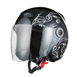ジェットヘルメット グラフィックブラック ブラック サイズL バイクパーツセンター|bike-parts-center