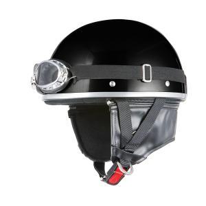 ヘルメット ビンテージ ゴーグル付き ブラック 新品 半キャップ・半ヘル バイクパーツセンター|bike-parts-center