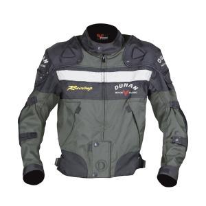 DUHAN 3シーズン ライディングジャケット ダークグリーン Lサイズ 肩・肘プロテクター付き 取り外し可能なキルトインナー付 バイクパーツセンター bike-parts-center