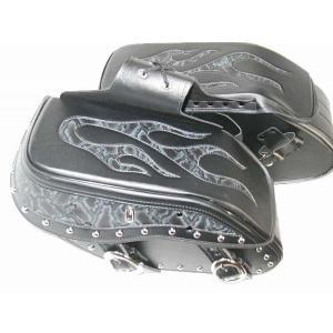 サドルバッグ ファイヤー柄 黒 Lサイズ