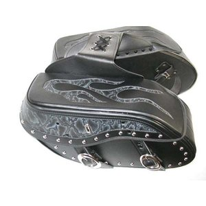 サドルバッグ ファイヤー柄 黒 LLサイズ