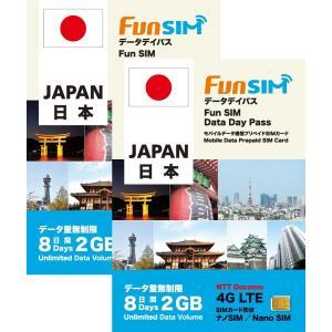 【2枚セット】日本国内 8日間 2GB 4G/3G データ通信専用 FunSIM プリペイドSIMカード|billion-connect