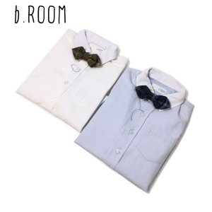 b-ROOM ビールーム 子供服 20秋冬 チェック柄蝶ネクタイつきシャツ|billy-k