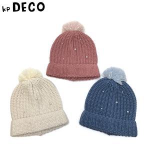KP DECO ケーピーデコ 子供服 20秋冬 チュール梵天パールビーズ付きニット帽|billy-k