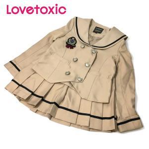 Lovetoxic ラブトキシック 子供服 ワッペンブローチつきセーラーラインジャケット×プリーツスカパン3点セット|billy-k