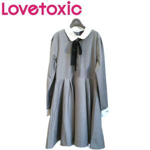 Lovetoxic ラブトキシック 子供服 リボンタイつき丸衿フレアワンピース|billy-k