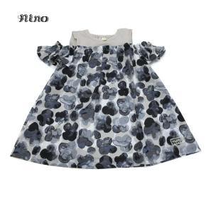 nino ニノ 子供服 21春夏 オフショルダースタンプフラワー柄ワンピース 100cm〜120cm|billy-k