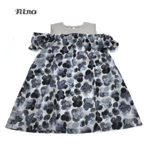 nino ニノ 子供服 21春夏 オフショルダースタンプフラワー柄ワンピース 130cm|billy-k