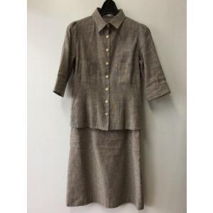 FORLILY for lily 茶色霜降り 麻と綿のスーツ サイズ38 bimota