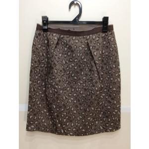 UNTITLED アンタイトル タックタイトスカート 光沢薄茶色&茶×白刺繍っぽい柄 サイズ2|bimota