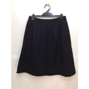 INDIVI インディヴィ タックスカート 裾デザイン 黒ラメ入り色 サイズ40|bimota