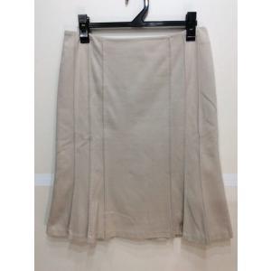 UNTITLED アンタイトル 台形風スカート ピンタック飾り カットソー素材 オフホワイトベージュ色 サイズ2|bimota