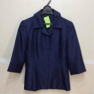 CERCHIO CERCHlO 七分袖ジャケット+ノースリワンピース 光沢青色地柄 サイズM bimota