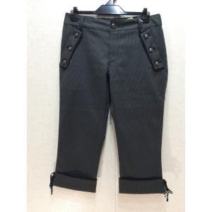 axes femme 細かいギンガムチェック半端丈パンツ 裾折り返し&リボン ウエスト後ろゴム bimota