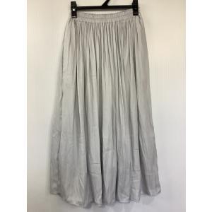 ユニクロ ギャザーロングスカート 薄グレー ウエストゴム サイズS|bimota