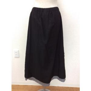 robe de chambre コム デ ギャルソン 黒のロング丈台形スカート ウエストゴム すそは黒白ギンガムの切り替え サイズM|bimota