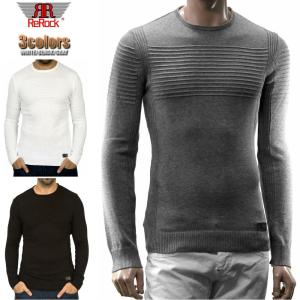 ボーダー ニット セーター メンズ 薄地 白黒グレー クルーネック コットンセーター 綿 無地